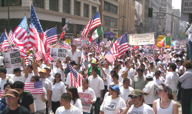 Click here for more pictures from the Broadway march on 'A Day Without Immigrants' - May 1, 2006