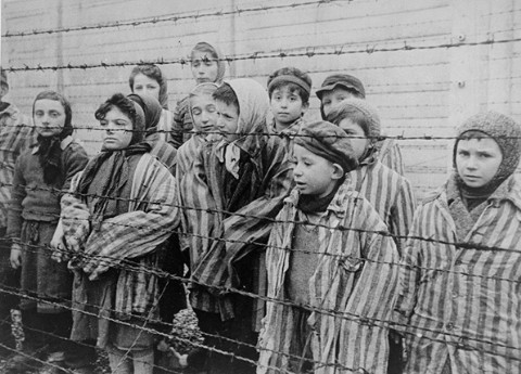 A group of child survivors of Auschwitz